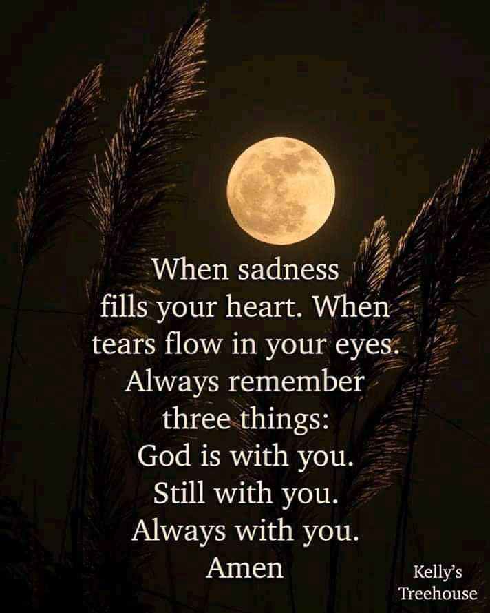 Did you know❓ - When sadness fills your heart . When tears flow in your eyes . Always remember three things : God is with you . Still with you . Always with you . Amen Kelly ' s Treehouse - ShareChat