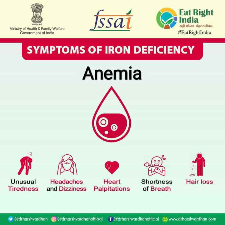 EatRightIndia_29 - fssat Eat Right India a sor . Erico . # EatRightIndia en het सत्यमेव जयते Ministry of Health & Family Welfare Government of India SYMPTOMS OF IRON DEFICIENCY Anemia Hair loss Unusual Tiredness Headaches and Dizziness Heart Palpitations Shortness of Breath y @ drharshvardhan @ drharshvardhanofficial f @ drharshvardhanofficial www . drharshvardhan . com - ShareChat