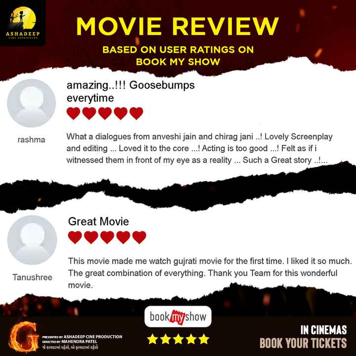 🎞 G - ગુજરાતી ફિલ્મ - MOVIE REVIEW ASHADEEP CINE PRODUCTION BASED ON USER RATINGS ON BOOK MY SHOW amazing . . ! ! ! Goosebumps everytime rashma What a dialogues from anveshi jain and chirag jani . . ! Lovely Screenplay and editing . . . Loved it to the core . . . ! Acting is too good . . . ! Felt as if i witnessed them in front of my eye as a reality . . . Such a Great story . . . . . . Great Movie Tanushree This movie made me watch gujrati movie for the first time . I liked it so much The great combination of everything . Thank you Team for this wonderful movie . bookmyshow PRESENTED BY ASHADEEP CINE PRODUCTION DIRECTED BY MAHENDRA PATEL જે કાયદામાં રહેશે , એ ફાયદામાં રહેશે IN CINEMAS BOOK YOUR TICKETS - ShareChat