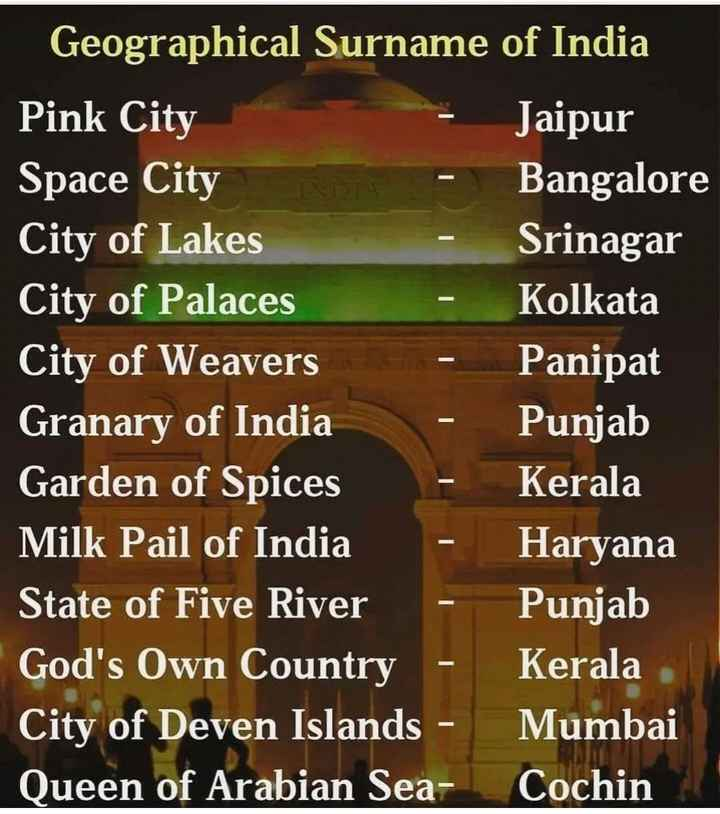 📰GK & करेंट अफेयर्स💡 - Geographical Surname of India Pink City Jaipur Space City Bangalore City of Lakes Srinagar City of Palaces Kolkata City of Weavers Panipat Granary of India Punjab Garden of Spices Kerala Milk Pail of India Haryana State of Five River Punjab God ' s Own Country - Kerala City of Deven Islands - Mumbai Queen of Arabian Sea - Cochin - ShareChat