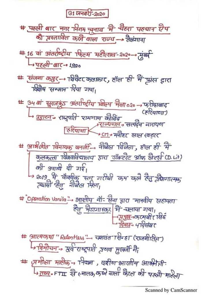 💯 GPSC તૈયારી - [ 91 जनवरी - २०२० # पहली बार नगर निगम चनाव में चेहरा पहचान ऐप की प्रस्तावित कले वाला राज्य - - तेलंगाना # 16 वां अंतर्राष्ट्रीय फिल्म महोत्सव - २०२० - - मुंबई परली बार - 1990 # संजना कपुर थियेटर कलाकार , हॉल ही में फांस द्वारा विशेष सम्मान दिया गपा । # 34 वां सूरजकुंड अंतर्राष्ट्रीय शिल्प मेला ०२० - - फरीदाबाद L , झाटन - राष्ट्रपति रामनाथ कोविंद - हरियाणा ) नारायण हरयाणा - - मनोहर लाल खट्टर # आमजीत विनायक वन - नोबेल विजेता , हॉल ही में कलकत्ता विश्वविद्यालय द्वारा डॉक्टरेट ऑफ लेटर्स ( D . Lit ) की पाार्य दी गई । → 2019 में वैश्विक स्ता गरीबी कम करने देत त्यागात्मक स्पासों हेतु नोबेल मिला , # oporation Vanila भारतीय नौ - सना झारा मानवीय सहायता स्तु मेडागास्कर में चलाया गया । प्रमुख - कामबीर सिंह दिवास - पदिसंबर # आत्मकथा Radontes - यशवंत सिन्हा ( राजनीतित ) विमोचन - - पूर्वराष्ट्रपात प्रणव मुखर्जी ने # समीक्षा मालेक - निष्पन , वहीण भारतीय आमेची तथ्य . FTII से स्नातक कहने वाला काल की पहली महिला Scanned by CamScanner - ShareChat