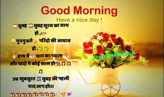 🌞 Good Morning🌞 - Good Morning Have a nice day ! सुबह सुबह सूरज का साथ हो , गुनगुनाते परिंदो की आवाज हो , हाथ में चाय काप्याला 0 और यादो मे कोई खास हो - 00 the HA25 उस खुबसूरत सुबह की पहली यादआपहो ॥ noa00 - 2005 - ShareChat