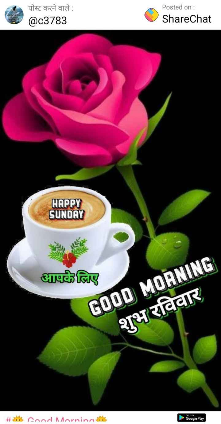 🌞 Good Morning🌞 - पोस्ट करने वाले : @ c3783 Posted on : ShareChat HAPPY SUNDAY आपके लिए GOOD MORNING शुभ रविवार GET IT ON Hoe Cood Morning Google Play - ShareChat