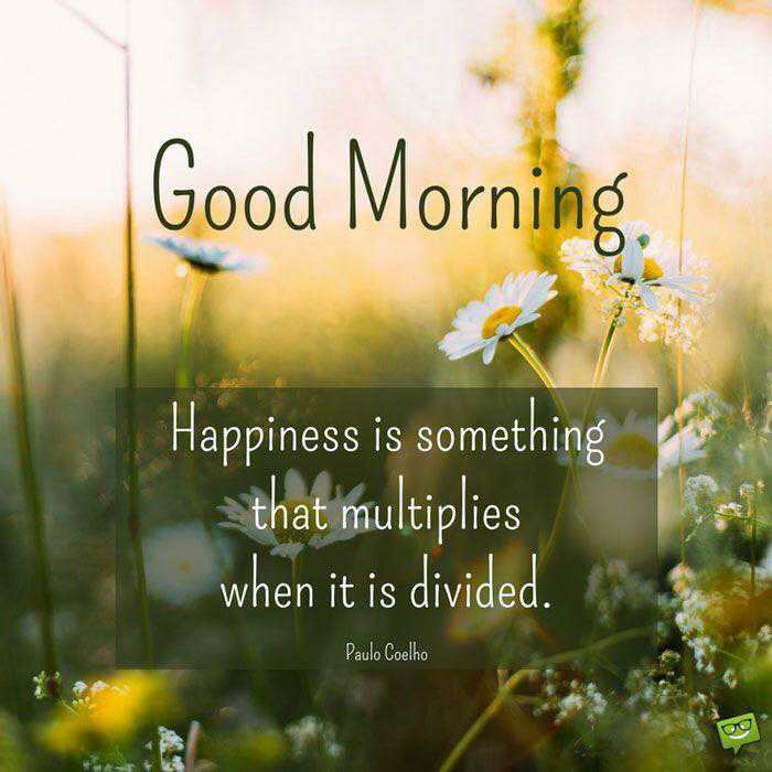 🌞 Good Morning🌞 - Good Morning . Happiness is something that multiplies when it is divided . Paulo Coelho - ShareChat