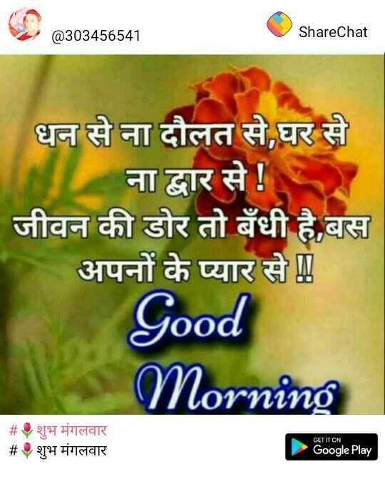 🌞 Good Morning🌞 - Sharechat @ 303456541 ShareChat धन से ना दौलत से , घर से ना द्वार से ! जीवन की डोर तो बँधी है , बस अपनों के प्यार से Good Morning # # शुभ मंगलवार शुभ मंगलवार GET IT ON Google Play - ShareChat