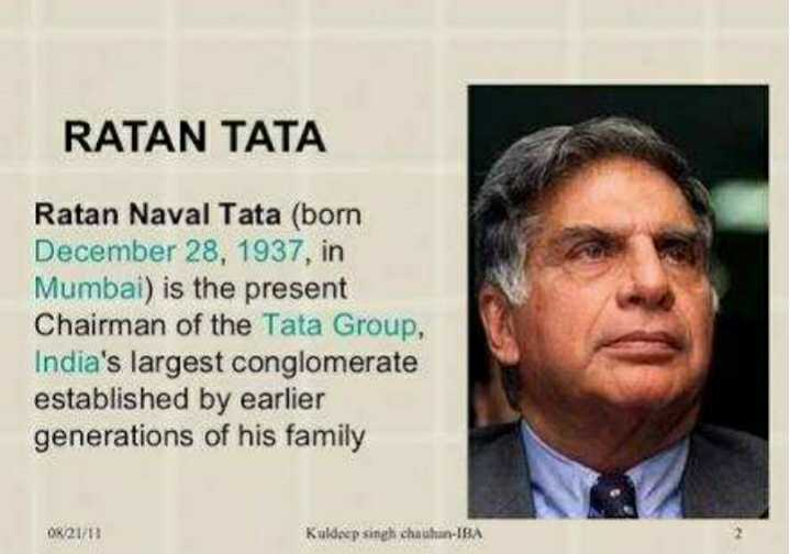 🏭 HBD: રતન તાતા - RATAN TATA Ratan Naval Tata ( born December 28 , 1937 , in Mumbai ) is the present Chairman of the Tata Group , India ' s largest conglomerate established by earlier generations of his family OR 21 / Kuldeep singh chauhan - IBA - ShareChat