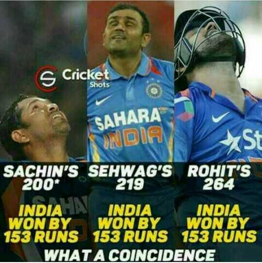 🇮🇳IND vs AUS 4th ODI🏏 - s Cricket Shots SAHARA TS BONDIA SACHIN ' S SEHWAG ' S ROHIT ' S 200 * 219 264 INDIA IN INDIA INDIA WON BY WON BY WON BY 153 RUNS 153 RUNS 153 RUNS WHAT A COINCIDENCE - ShareChat