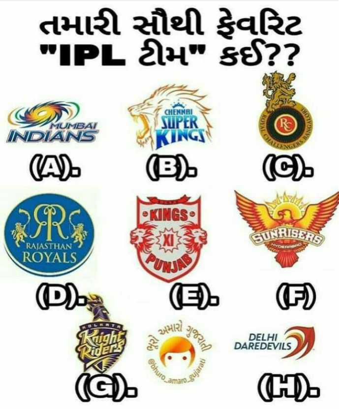 IPL સમાચાર - તમારી સૌથી ફેવરિટ IPL ટીમ કઈ ? ? CHENNAI MUMBAI SUPER INDIANS KINGS   ( ) - ( KINGS GUNRISERS RAJASTHAN ROYALS IS D ) ( ઉ . . ( 2 ) અમારી છે Ploc DELHI DAREDEVILS bhuro ro _ gujar ( H ) . - ShareChat