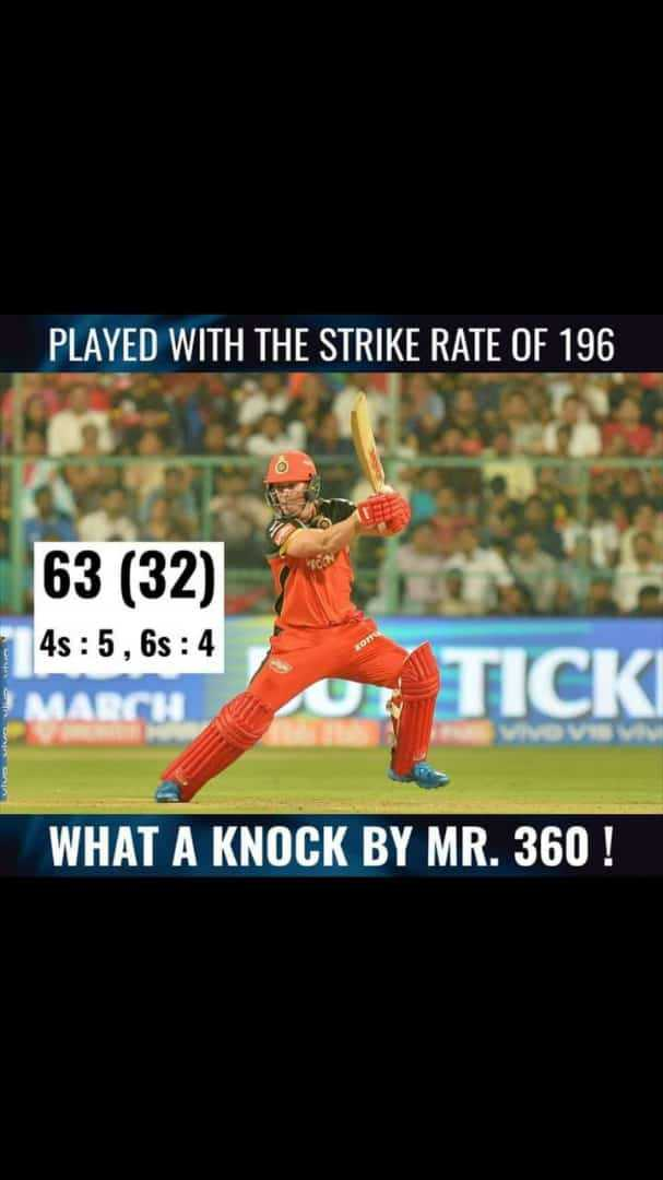 IPL ಟ್ರೋಲ್ಸ್ - PLAYED WITH THE STRIKE RATE OF 196 63 ( 32 ) MARCH 4s : 5 , 6 : 4 01 TICK WHAT A KNOCK BY MR . 360 ! - ShareChat