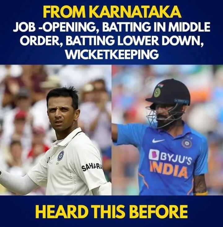 🏏Ind vs Aus 2nd ODI - FROM KARNATAKA JOB - OPENING , BATTING IN MIDDLE ORDER , BATTING LOWER DOWN , WICKETKEEPING & BYJU ' S INDIA SAHARA HEARD THIS BEFORE - ShareChat