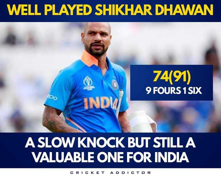 Ind vs Aus - WELL PLAYED SHIKHAR DHAWAN 74 ( 91 ) 9 FOURS 1 SIX Do IND A SLOW KNOCK BUT STILL A VALUABLE ONE FOR INDIA CRICKET ADDICTOR - ShareChat