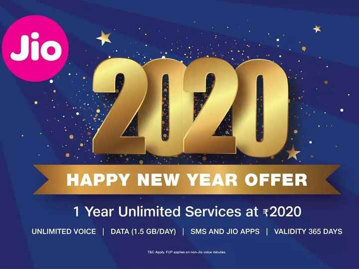🎉JIO 2020 ऑफर - Jio 2120 HAPPY NEW YEAR OFFER 1 Year Unlimited Services at + 2020 UNLIMITED VOICE DATA ( 1 . 5 GB / DAY )   SMS AND JIO APPS VALIDITY 365 DAYS T & C Apply . FUP applies on non - Jio voice minutes . - ShareChat