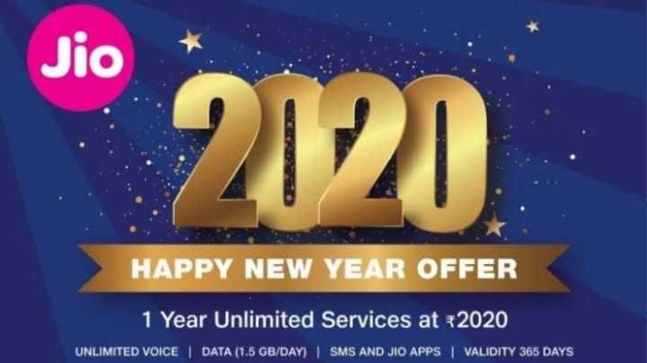 🎉JIO 2020 ऑफर - Jio 2120 HAPPY NEW YEAR OFFER 1 Year Unlimited Services at 2020 UNLIMITED VOICE   DATA ( 1 . 5 GB / DAY )   SMS AND JIO APPS   VALIDITY 365 DAYS - ShareChat