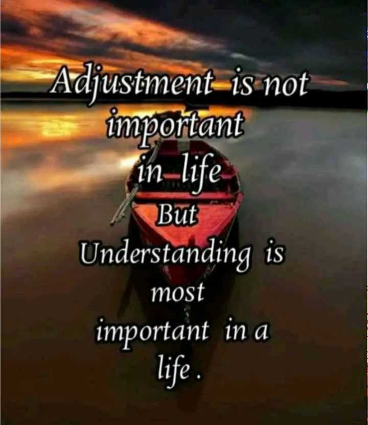 👍 Motivational Quotes✌ - Adjustment is not important in - life But Understanding is most important in a life . - ShareChat