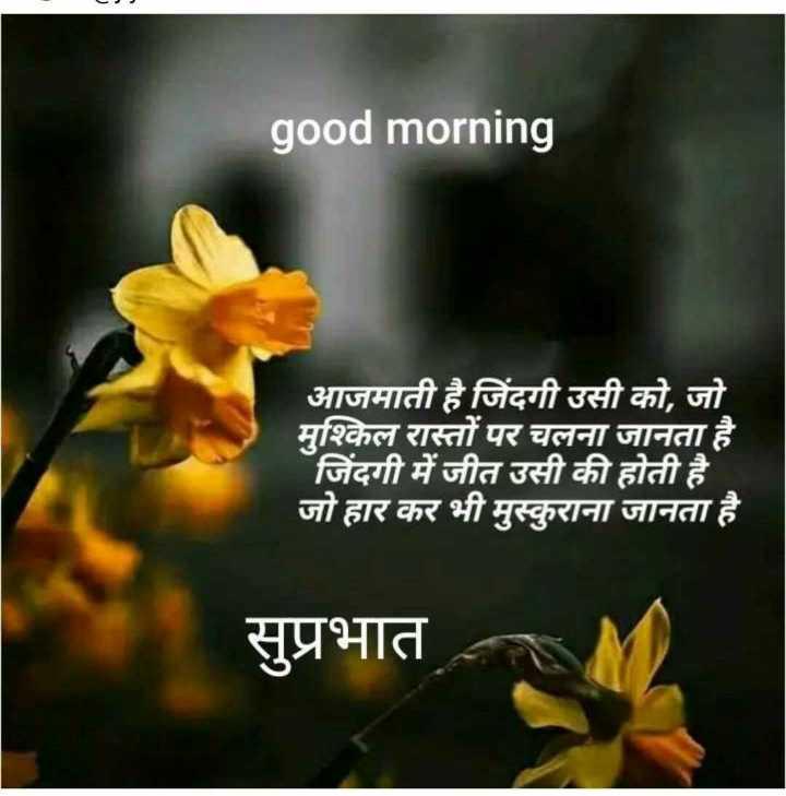 👍 Motivational Quotes✌ - good morning आजमाती है जिंदगी उसी को , जो मुश्किल रास्तों पर चलना जानता है । जिंदगी में जीत उसी की होती है । जो हार कर भी मुस्कुराना जानता है । सुप्रभात - ShareChat
