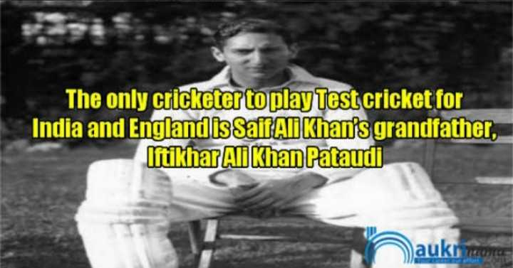 🏆 PAK 🇵🇰 vs NZ 🇳🇿 🏏 - The only cricketer to play Test cricket for India and England is Saif Ali Khan ' s grandfather , Iftikhar Ali Khan Pataudi auk ruan - ShareChat