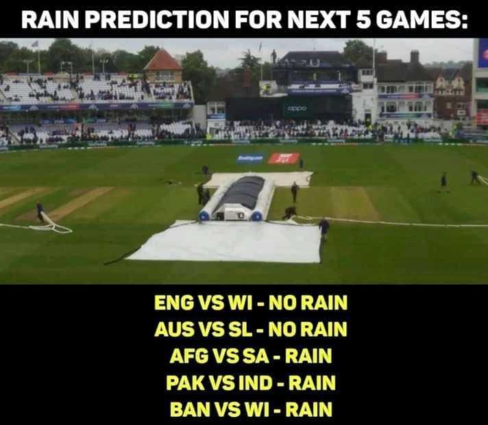 📅 World Cup Schedule 2019 - RAIN PREDICTION FOR NEXT 5 GAMES : CODO ENG VS WI - NO RAIN AUS VS SL - NO RAIN AFG VS SA - RAIN PAK VS IND - RAIN BAN VS WI - RAIN - ShareChat