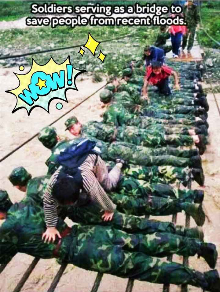 army - Soldiers serving as a bridge to save people from recent floods . - ShareChat