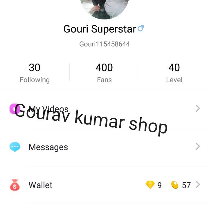 My city - Gouri Superstaro Gouri 115458644 30 Following 400 Fans 40 Level Gourmay kumar shop Messages Wallet 9 57 > - ShareChat