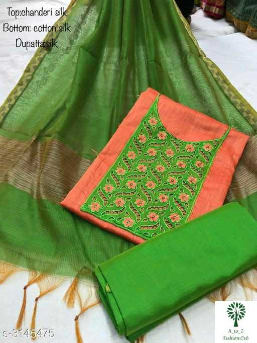 beautiful dress - Top : chanderi silk Bottom : cotton silk Dupatta sik NAC Se AND $ - 3145475 A to Z Fashion1216 - ShareChat