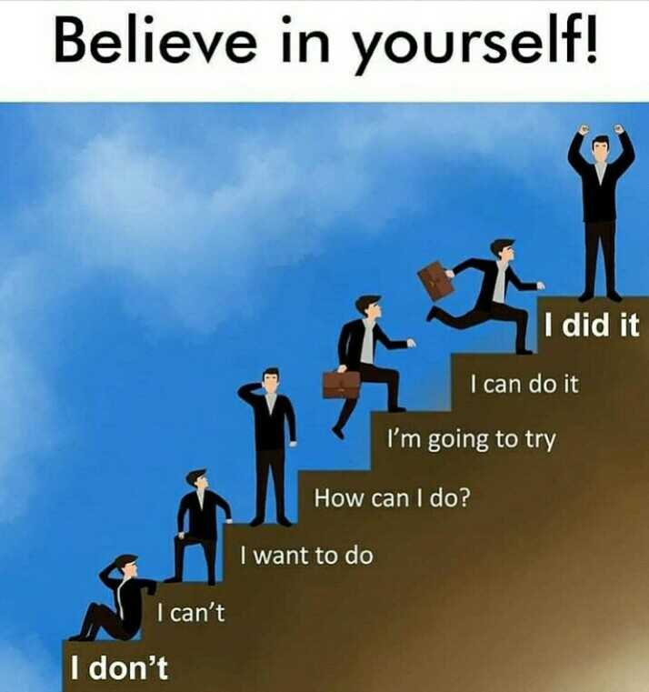 believe in yourself - Believe in yourself ! I did it I can do it I ' m going to try How can I do ? I want to do I can ' t I don ' t - ShareChat