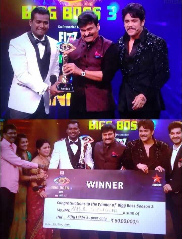 bigg boss winner - GBOCS Co Presented 17 WINNER BIF BOS Presented by BIGG BOSS WINNER maa 7027 Congratulations to the winner of Bigg Boss Season 3 . Ms . / Mr . KAROLLIGINU La sum of INR Fifty lakhs Rupees only 50 , 00 , 000 / Dute 03 / 2010 - ShareChat