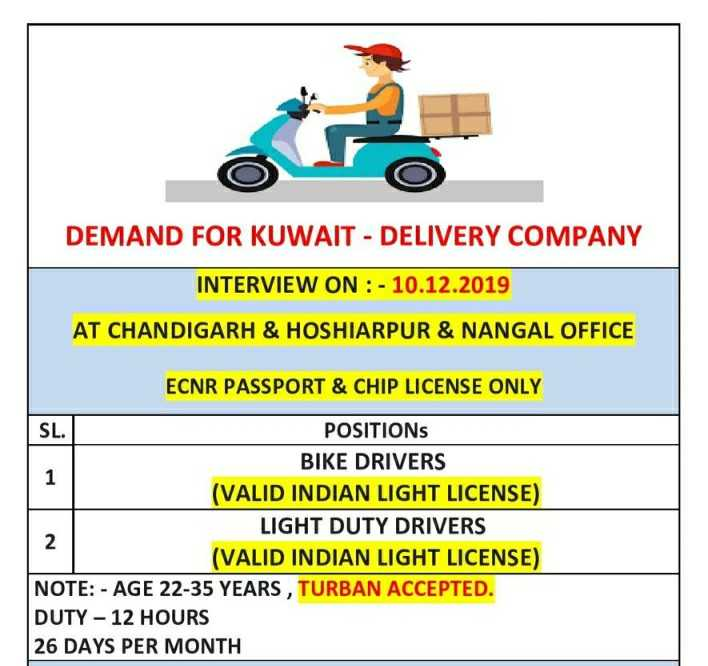 business - DEMAND FOR KUWAIT - DELIVERY COMPANY INTERVIEW ON : - 10 . 12 . 2019 AT CHANDIGARH & HOSHIARPUR & NANGAL OFFICE ECNR PASSPORT & CHIP LICENSE ONLY SL . POSITIONS BIKE DRIVERS ( VALID INDIAN LIGHT LICENSE ) LIGHT DUTY DRIVERS ( VALID INDIAN LIGHT LICENSE ) NOTE : - AGE 22 - 35 YEARS , TURBAN ACCEPTED . DUTY - 12 HOURS 26 DAYS PER MONTH - ShareChat