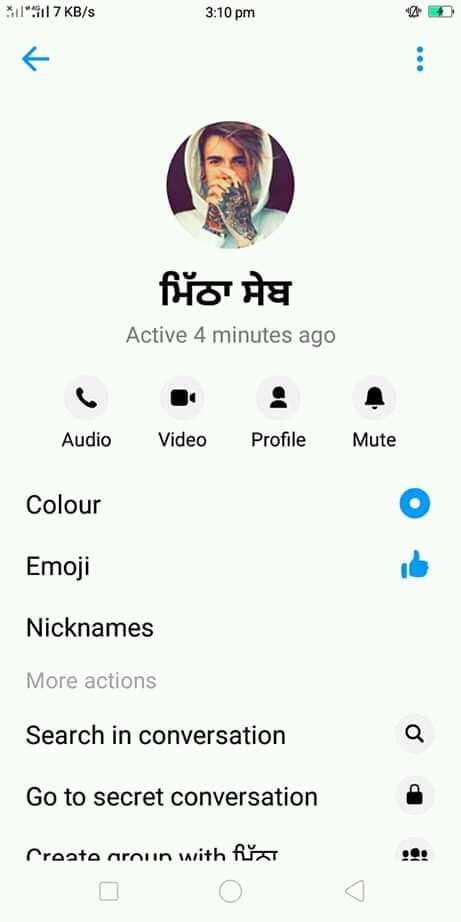 facebook feed - 1 . 117 KB / S 3 : 10 pm ਮਿੱਠਾ ਸੇਬ Active 4 minutes ago Audio Video Profile Mute Colour Emoji Nicknames More actions Search in conversation Go to secret conversation Croato aroun with firar - ShareChat
