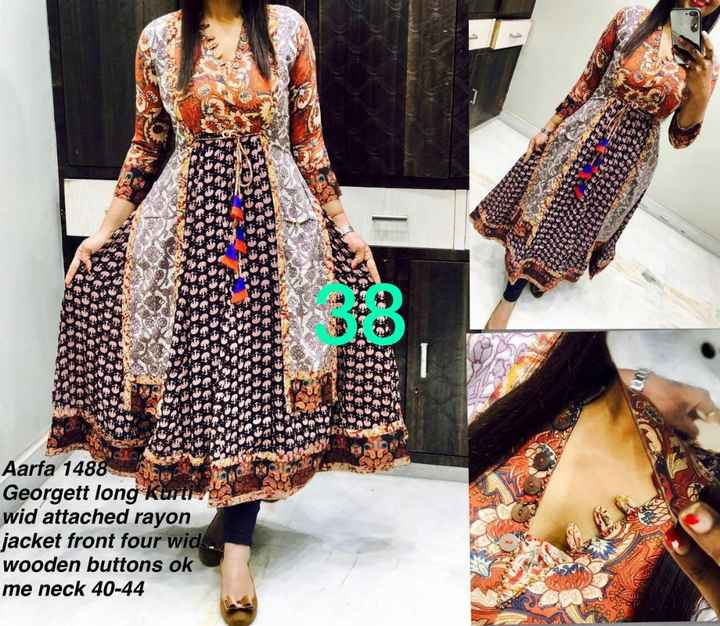 fashion - Aarfa 1488 Georgett long Kurti wid attached rayon jacket front four wid . wooden buttons ok me neck 40 - 44 - ShareChat