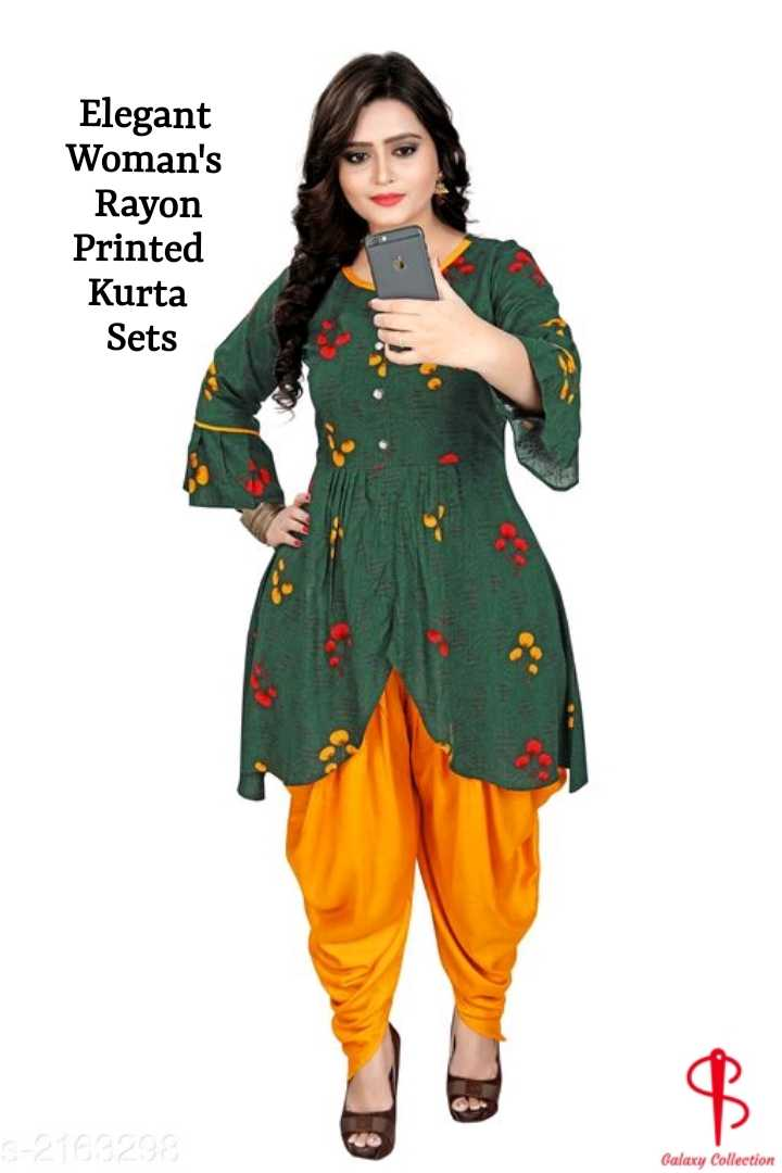 Galaxy Collection 7021027474 Order Now 🙏 - Elegant Woman ' s Rayon Printed Kurta Sets 6 - 2163298 Galaxy Collection - ShareChat