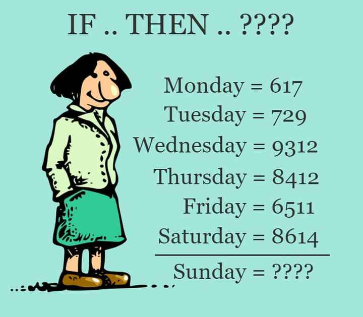 general knowledge - IF . . THEN . . ? ? ? ? Monday = 617 Tuesday = 729 Wednesday = 9312 Thursday = 8412 Friday = 6511 Saturday = 8614 . Sunday = ? ? ? ? - ShareChat