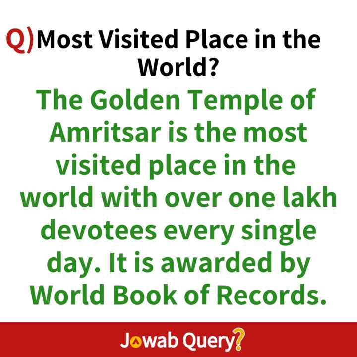 general knowledge - Q ) Most Visited Place in the World ? The Golden Temple of Amritsar is the most visited place in the world with over one lakh devotees every single day . It is awarded by World Book of Records . Jowab Query ? - ShareChat