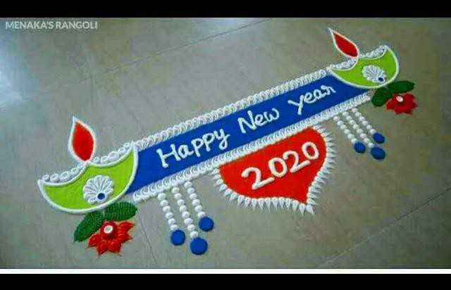 happy new year - MENAKA ' S RANGOLI Happy New year POO 2020 - ShareChat