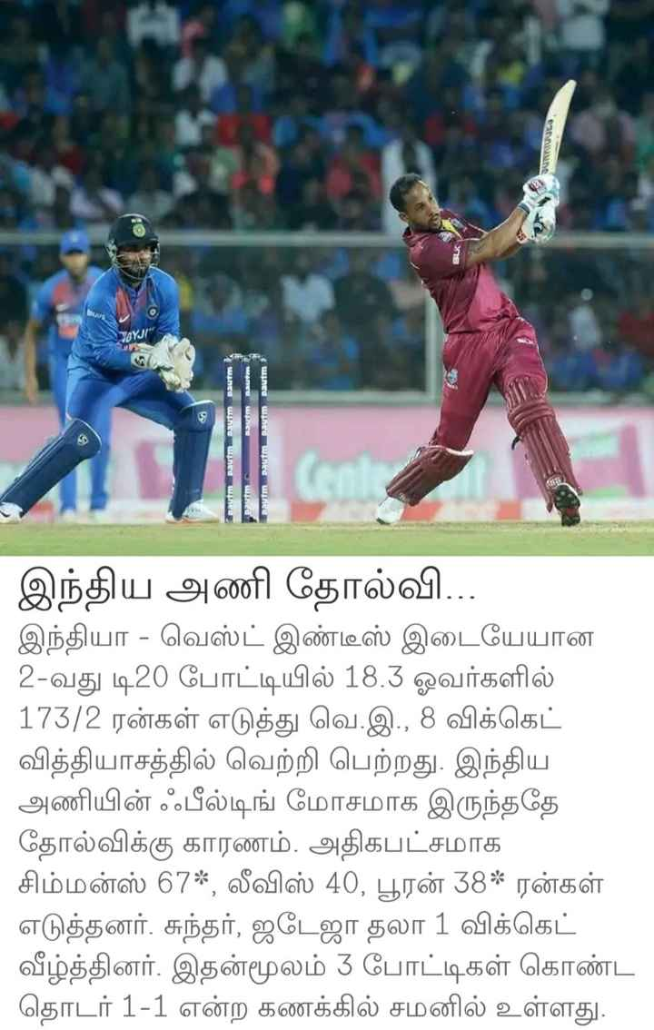 india vs west indies - connel AYJI Daum Dautm tm Daum Daum Pautm pau Dauitm இந்திய அணி தோல்வி . . . இந்தியா - வெஸ்ட் இண்டீஸ் இடையேயான 2 - வது டி20 போட்டியில் 18 . 3 ஓவர்களில் 173 / 2 ரன்கள் எடுத்து வெ . இ . , 8 விக்கெட் வித்தியாசத்தில் வெற்றி பெற்றது . இந்திய அணியின் ஃபீல்டிங் மோசமாக இருந்ததே தோல்விக்கு காரணம் . அதிகபட்சமாக சிம்மன்ஸ் 67 * , லீவிஸ் 40 , பூரன் 38 * ரன்கள் எடுத்தனர் . சுந்தர் , ஜடேஜா தலா 1 விக்கெட் வீழ்த்தினர் . இதன்மூலம் 3 போட்டிகள் கொண்ட தொடர் 1 - 1 என்ற கணக்கில் சமனில் உள்ளது . - ShareChat