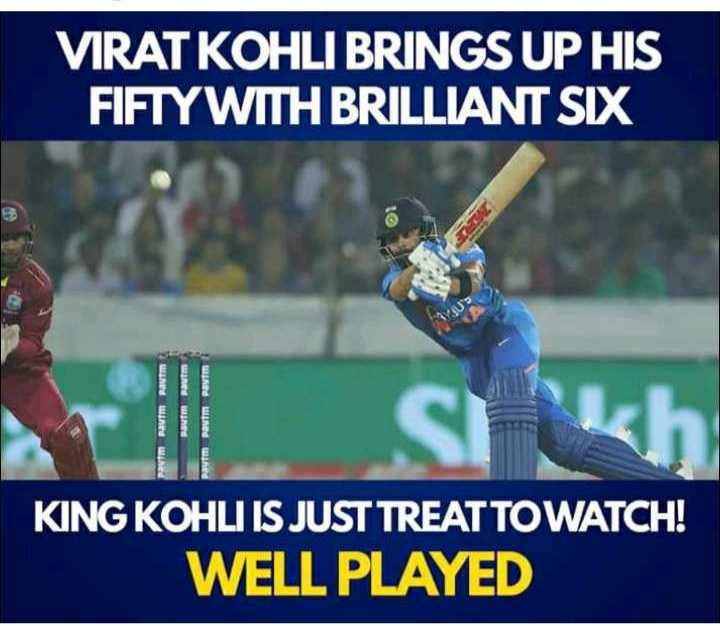 ind vs wi t20 - VIRAT KOHLI BRINGS UP HIS FIFTYWITH BRILLIANT SIX KING KOHLI IS JUST TREAT TO WATCH ! WELL PLAYED - ShareChat
