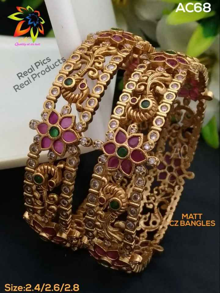 jewellery - AC68 Quality at its base Real Pics Real Products BIOIOIOION LONDON GOOOO MATT CZ BANGLES Size : 2 . 4 / 2 . 6 / 2 . 8 - ShareChat