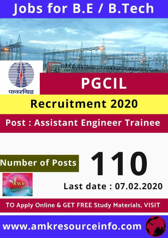job news - Jobs for B . E / B . Tech PGCIL पावरग्रिड Recruitment 2020 Post : Assistant Engineer Trainee Number of Posts Last date : 07 . 02 . 2020 RESULTCC TO Apply Online & GET FREE Study Materials , VISIT www . amkresourceinfo . com - ShareChat