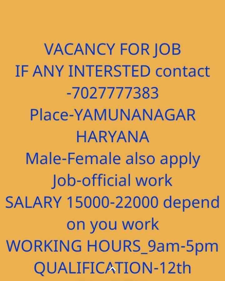 jobupdate - VACANCY FOR JOB IF ANY INTERSTED contact - 7027777383 Place - YAMUNANAGAR HARYANA Male - Female also apply Job - official work SALARY 15000 - 22000 depend on you work WORKING HOURS _ 9am - 5pm QUALIFICATION - 12th - ShareChat