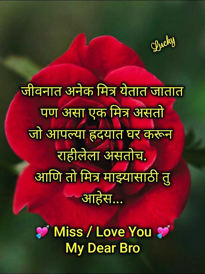 Lucky च्या लेखनीतून - Lucky जीवनात अनेक मित्र येतात जातात पण असा एक मित्र असतो जो आपल्या ह्रदयात घर करून राहीलेला असतोच . आणि तो मित्र माझ्यासाठी तु आहेस . . . Miss / Love You My Dear Bro - ShareChat