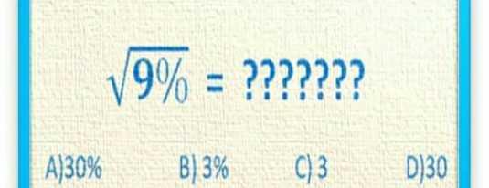 maths test - V9 % = ? ? ? ? ? ? ? A ) 30 % B ) 3 % 03 D ) 30 - ShareChat