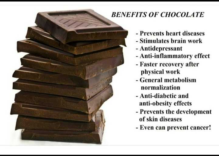 me also chocolate lover😘 - BENEFITS OF CHOCOLATE - Prevents heart diseases - Stimulates brain work - Antidepressant - Anti - inflammatory effect - Faster recovery after physical work - General metabolism normalization - Anti - diabetic and anti - obesity effects - Prevents the development of skin diseases - Even can prevent cancer ! - ShareChat