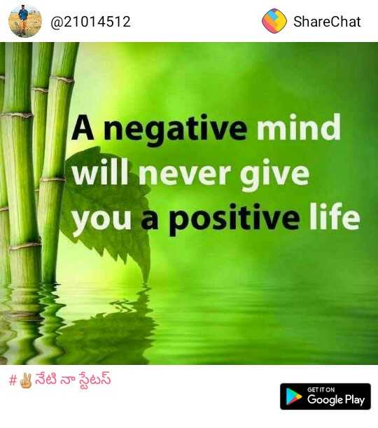 my status... - @ 21014512 ShareChat A negative mind will never give you a positive life # నేటి నా స్టేటస్ GET IT ON Google Play Google Play - ShareChat