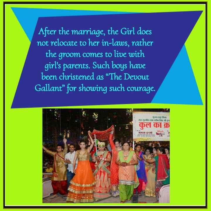 """saint dr.msg - After the marriage , the Girl does not relocate to her in - laws , rather the groom comes to live with girl ' s parents . Such boys have been christened as """" The Devout Gallant """" for showing such courage . संत ५ हजुर धिता राम राम 8 h Qa Web ममताइन् । - ShareChat"""