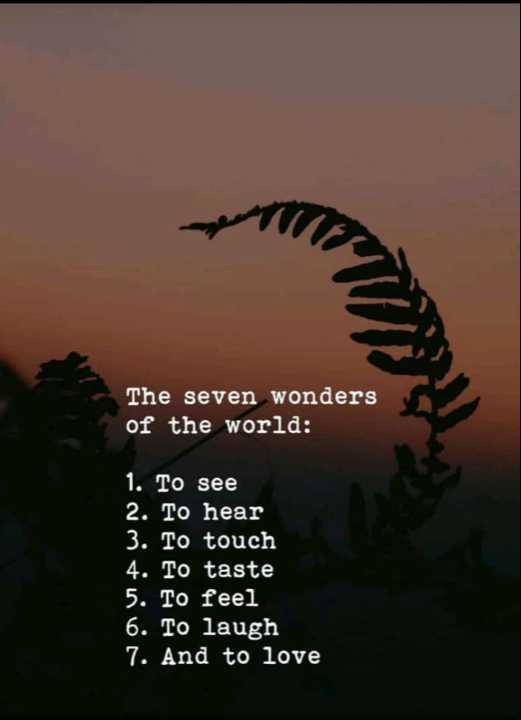 seven wonders - The seven wonders of the world : 1 . To see 2 . To hear 3 . To touch 4 . To taste 5 . To feel 6 . To laugh 7 . And to love - ShareChat