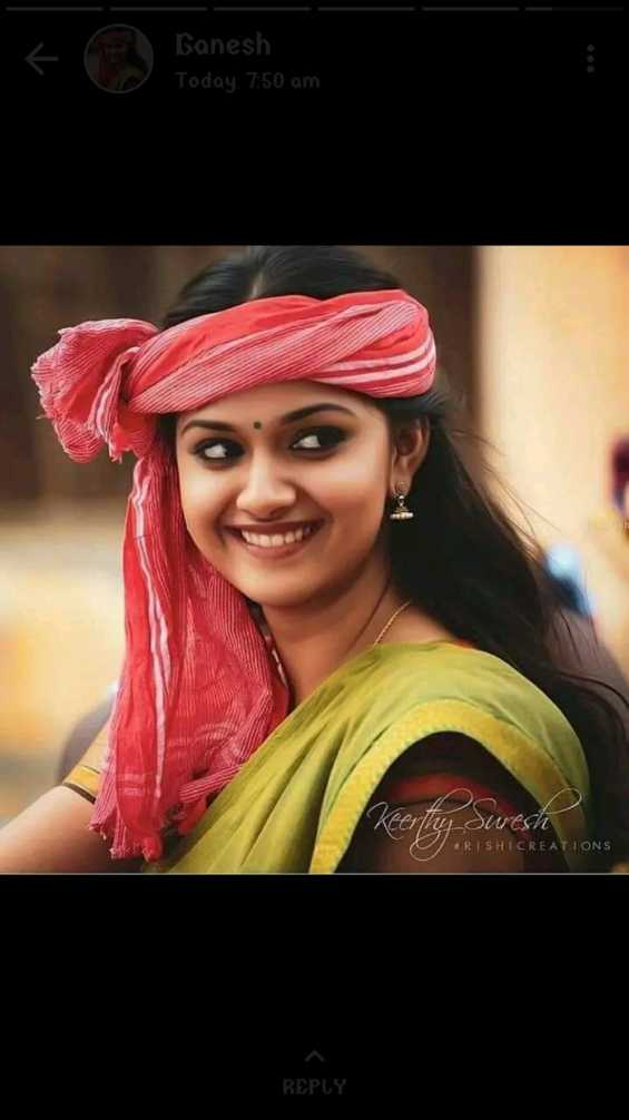 tolly wood - Banesh Today , 7 : 50 am Keerthy Suresh RISHICREATIONS REPLY - ShareChat