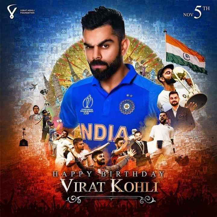 virat birthday - TH VIRAT KOHLI FOUNDATION Nov 5TH NOV 5 pero ro INCANSA MALES 2010 ANDIAS HAPPY BIRTHDAY . VIRAT KOHLI - ShareChat